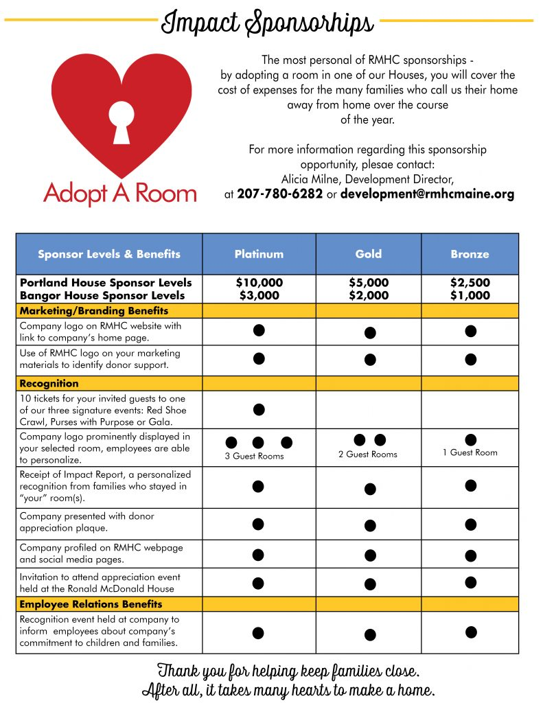 One Page - Adopt A Room - website